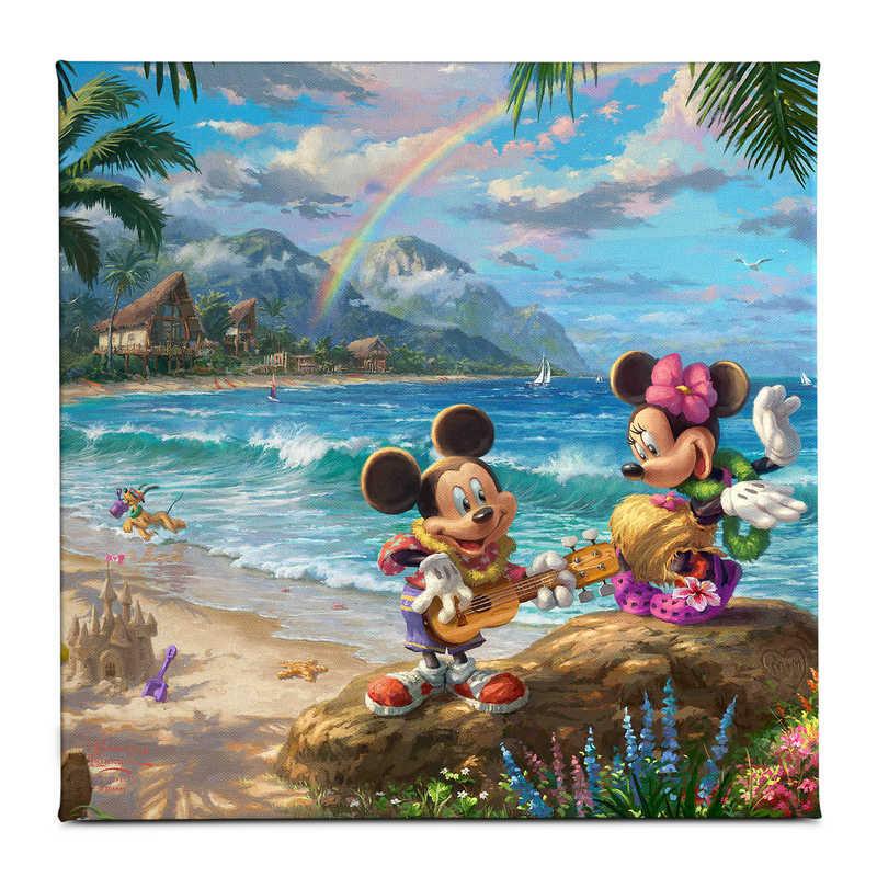 【取寄せ】 ディズニー Disney US公式商品 ミッキーマウス ミッキー ミニーマウス ミニー トーマスキンケード Thomas Kinkade キャンバス [並行輸入品] 'Mickey and Minnie in Hawaii'' Gallery Wrapped Canvas by Studios グッズ ストア プレゼント ギフト クリスマス 誕生