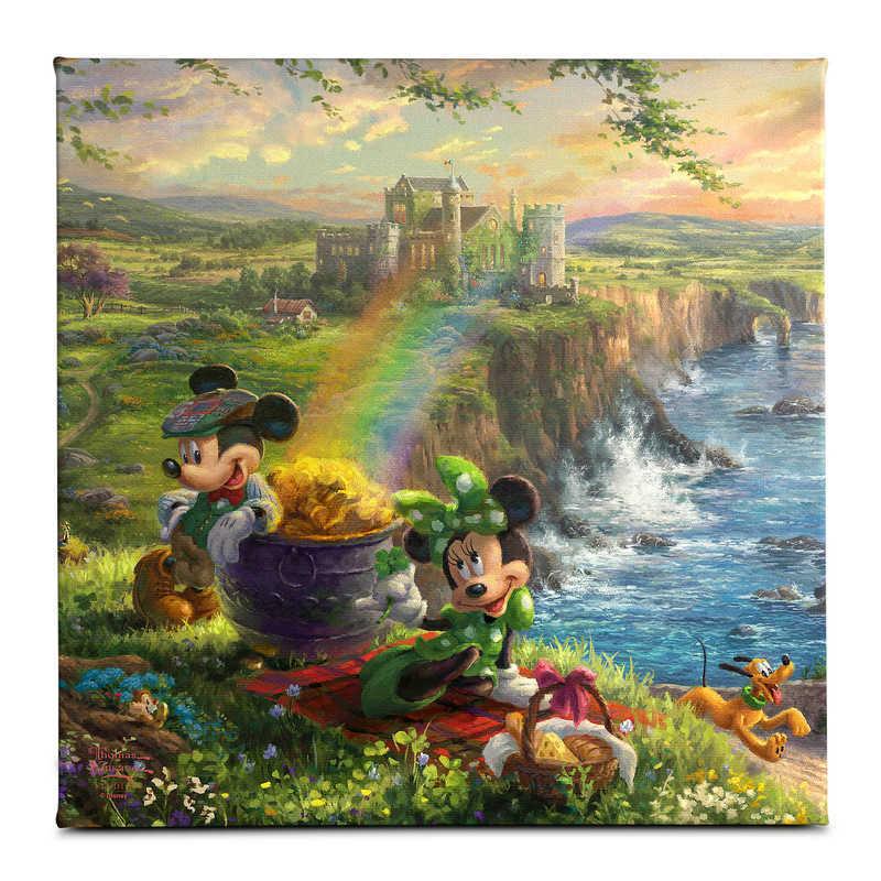 【取寄せ】 ディズニー Disney US公式商品 ミッキーマウス ミッキー ミニーマウス ミニー トーマスキンケード Thomas Kinkade キャンバス [並行輸入品] 'Mickey and Minnie in Ireland'' Gallery Wrapped Canvas by Studios グッズ ストア プレゼント ギフト クリスマス 誕生