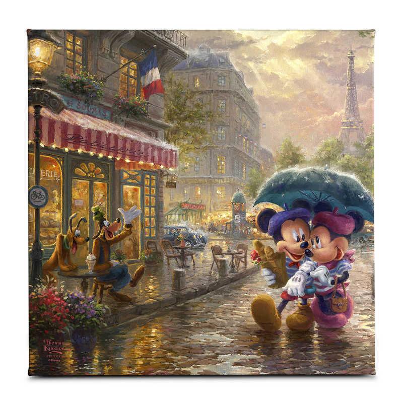 【取寄せ】 ディズニー Disney US公式商品 ミッキーマウス ミッキー ミニーマウス ミニー トーマスキンケード Thomas Kinkade キャンバス [並行輸入品] 'Mickey and Minnie in Paris'' Gallery Wrapped Canvas by Studios グッズ ストア プレゼント ギフト クリスマス 誕生日