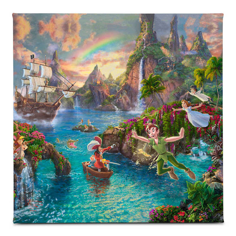 【取寄せ】 ディズニー Disney US公式商品 ピーターパン トーマスキンケード Thomas Kinkade キャンバス [並行輸入品] 'Peter Pan's Never Land'' Gallery Wrapped Canvas by Studios グッズ ストア プレゼント ギフト クリスマス 誕生日 人気