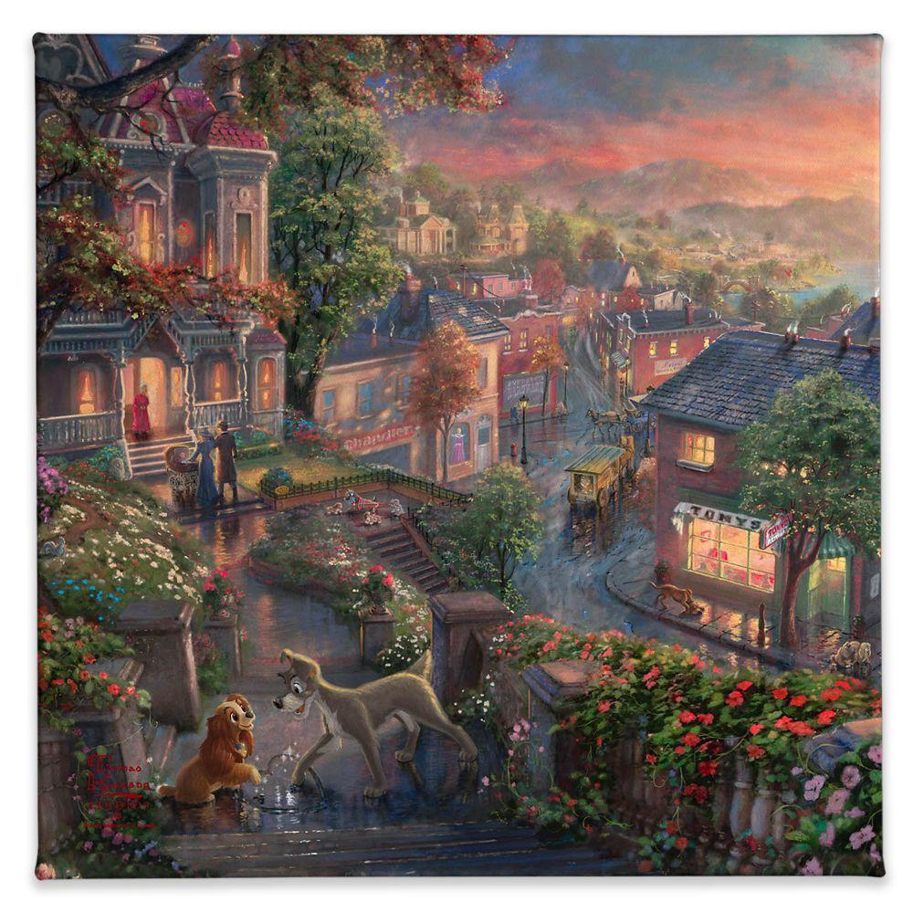 【取寄せ】 ディズニー Disney US公式商品 わんわん物語 レディ トランプ トーマスキンケード Thomas Kinkade キャンバス [並行輸入品] 'Lady and the Tramp'' Gallery Wrapped Canvas by Studios グッズ ストア プレゼント ギフト クリスマス 誕生日 人気