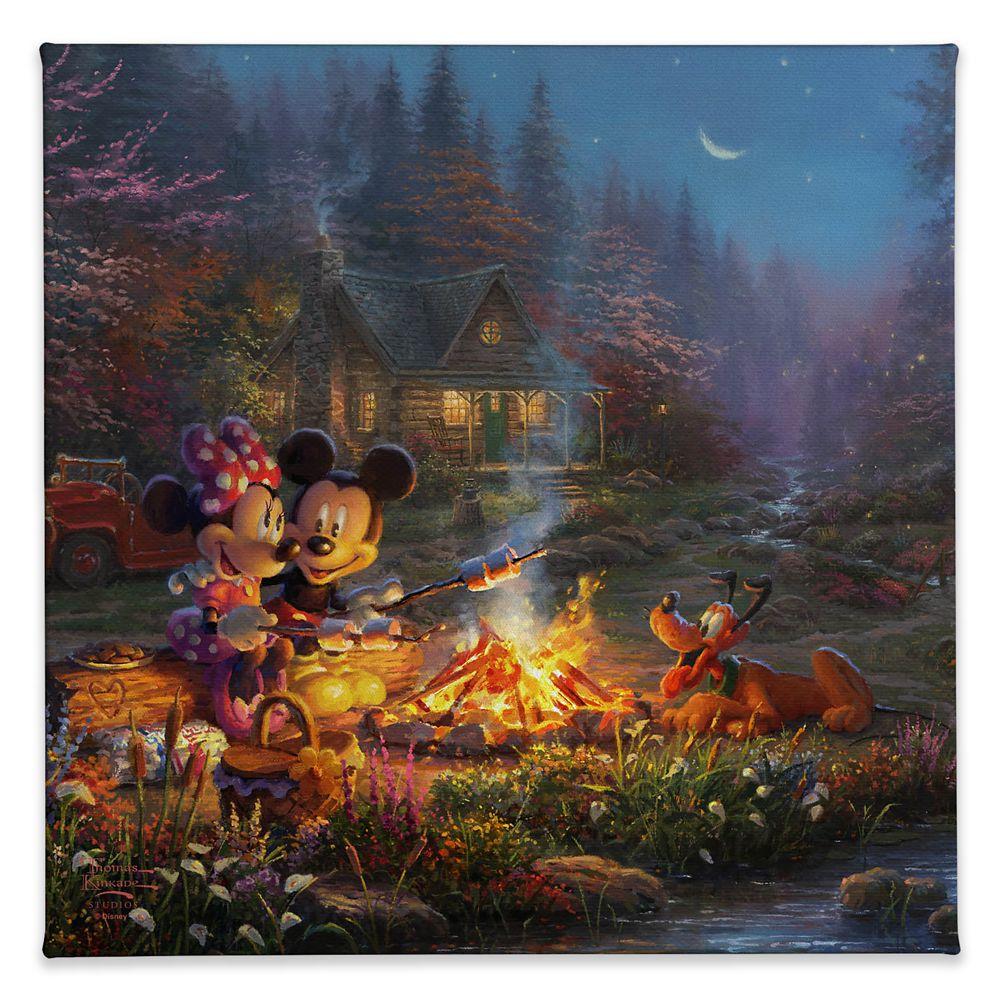 【取寄せ】 ディズニー Disney US公式商品 ミッキーマウス ミッキー ミニーマウス ミニー トーマスキンケード Thomas Kinkade キャンバス [並行輸入品] 'Mickey and Minnie Sweetheart Campfire'' Gallery Wrapped Canvas by Studios グッズ ストア プレゼント ギフト クリス