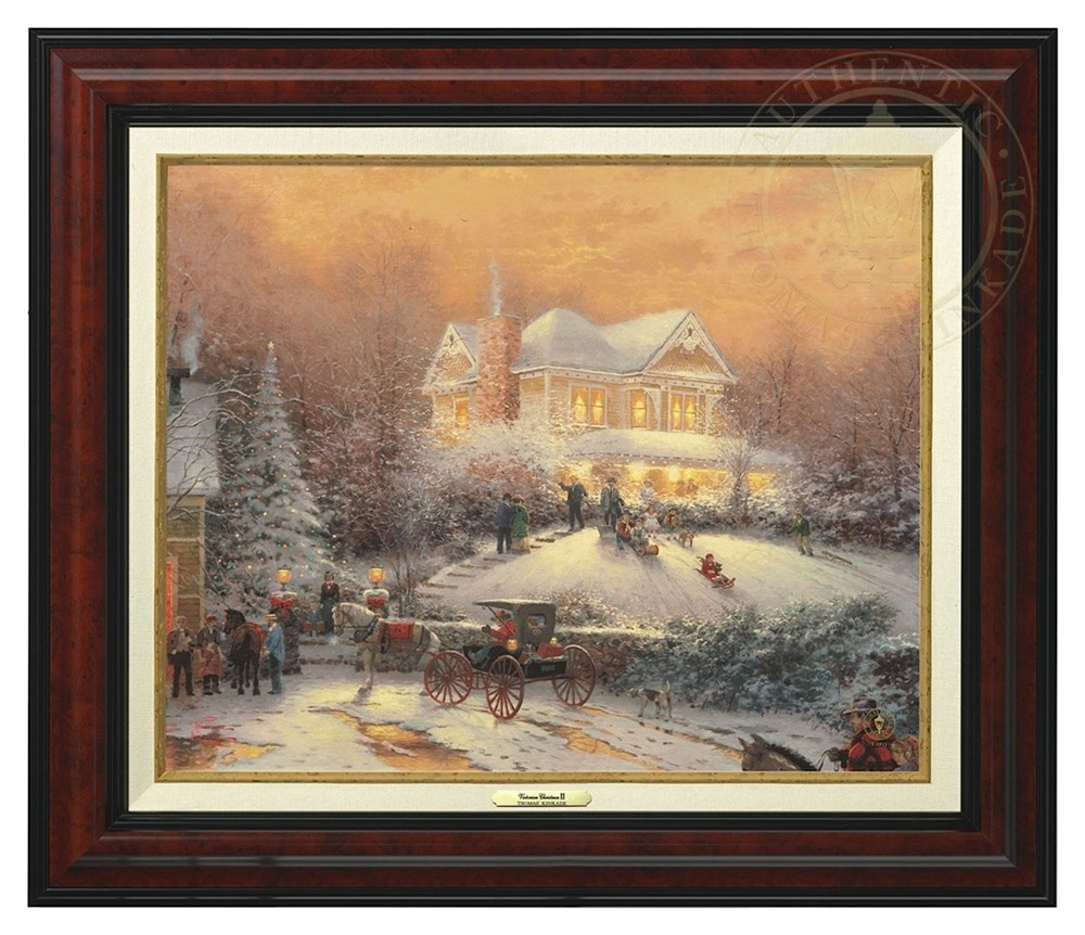 【取寄せ】 風景 景色 自然 絵画 絵 アート キャンバス インテリア 装飾 デザイン 壁 額付き フレーム付き (Burl Frame) Thomas Kinkade トーマスキンケード 風景画 [並行輸入品] Thomas Kinkade Victorian Christmas II - Canvas Classic (Burl Frame) グッズ ストア