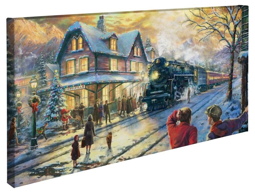"""【取寄せ】 風景 景色 自然 大きさ 40.6cm x 78.7cm 絵画 絵 アート キャンバス インテリア 装飾 デザイン 壁 Thomas Kinkade トーマスキンケード [並行輸入品] Thomas Kinkade All Aboard for Christmas ? 16"""" x 31"""" Gallery Wrapped Canvas グッズ ストア プレゼント"""