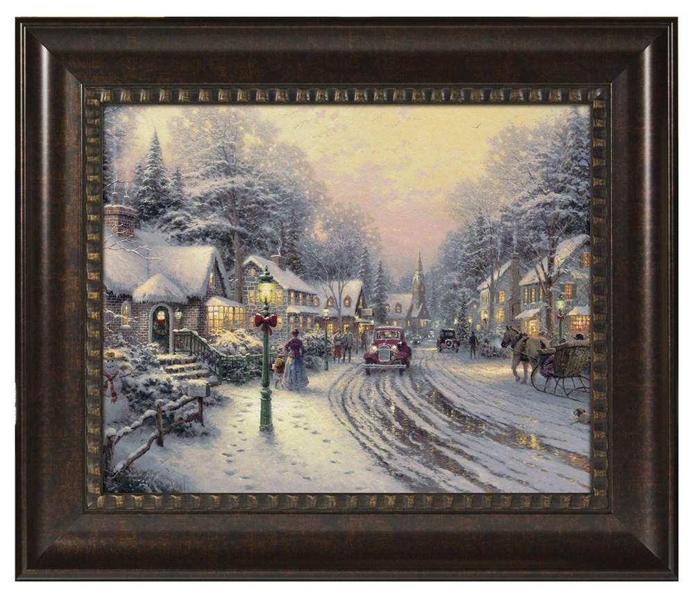 """【取寄せ】 風景 景色 自然 大きさ 40.6cm x 50.8cm 絵画 絵 アート ブラッシュストロークヴィネット インテリア 装飾 デザイン 壁 額付き フレーム付き (Rich Burl Frame) Thomas Kinkade トーマスキンケード [並行輸入品] Thomas Kinkade Village Christmas - 16"""" x 20"""