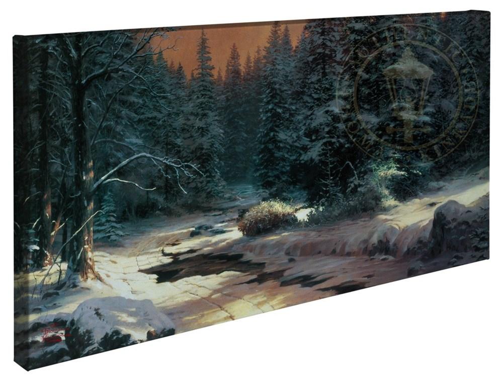 """【取寄せ】 風景 景色 自然 大きさ 40.6cm x 78.7cm 絵画 絵 アート キャンバス インテリア 装飾 デザイン 壁 Thomas Kinkade トーマスキンケード [並行輸入品] Thomas Kinkade Winter's End - 16"""" x 31"""" Gallery Wrapped Canvas グッズ ストア プレゼント ギフト クリ"""