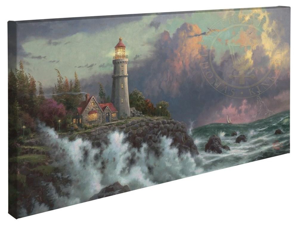 """【取寄せ】 風景 景色 自然 大きさ 40.6cm x 78.7cm 絵画 絵 アート キャンバス インテリア 装飾 デザイン 壁 Thomas Kinkade トーマスキンケード [並行輸入品] Thomas Kinkade Conquering the Storms - 16"""" x 31"""" Gallery Wrapped Canvas グッズ ストア プレゼント ギ"""
