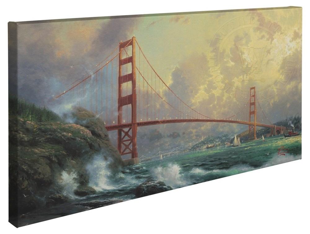 """【取寄せ】 風景 景色 自然 大きさ 40.6cm x 78.7cm 絵画 絵 アート キャンバス インテリア 装飾 デザイン 壁 Thomas Kinkade トーマスキンケード [並行輸入品] Thomas Kinkade San Francisco, Golden Gate Bridge - 16"""" x 31"""" Gallery Wrapped Canvas グッズ ストア"""