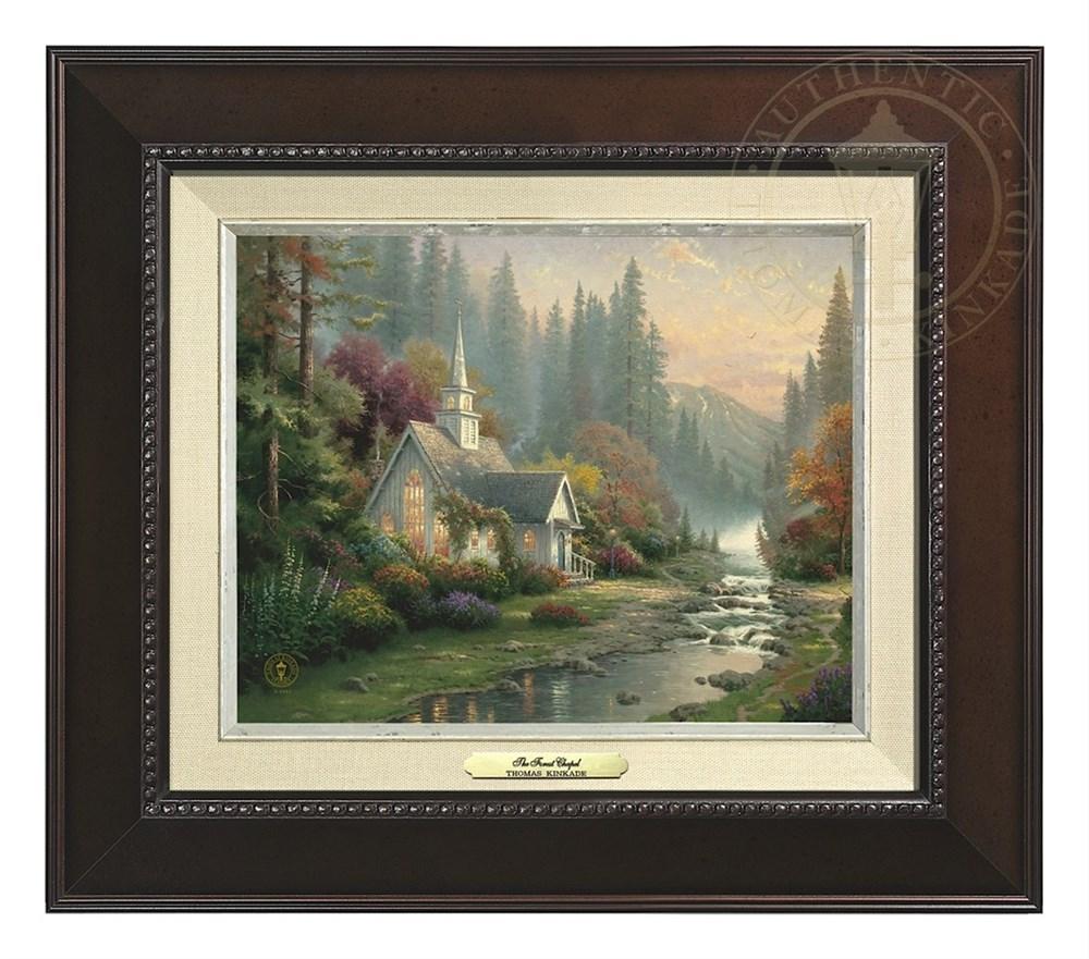 【取寄せ】 風景 景色 自然 絵画 絵 アート キャンバス インテリア 装飾 デザイン 壁 額付き フレーム付き (Espresso Frame) Thomas Kinkade トーマスキンケード [並行輸入品] Thomas Kinkade The Forest Chapel - Canvas Classic (Espresso Frame) グッズ ストア プレゼ