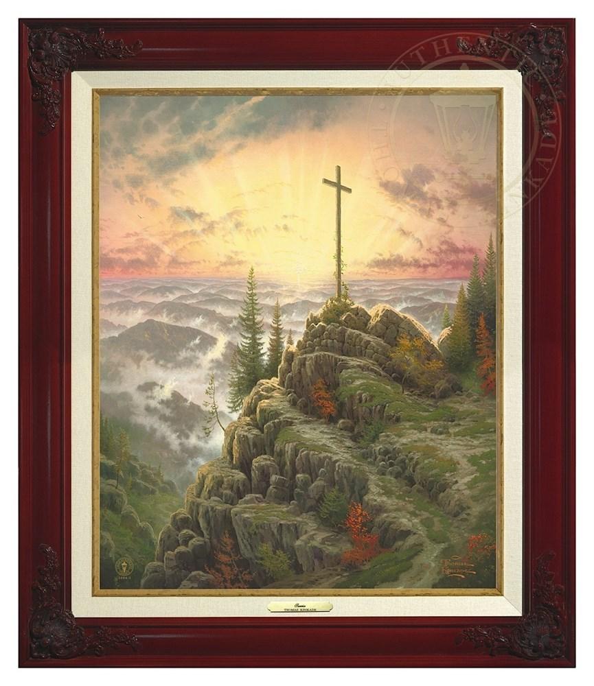 【取寄せ】 風景 景色 自然 絵画 絵 アート キャンバス インテリア 装飾 デザイン 壁 額付き フレーム付き (Brandy Frame) Thomas Kinkade トーマスキンケード 風景画 [並行輸入品] Thomas Kinkade Sunrise - Canvas Classic (Brandy Frame) グッズ ストア プレゼント