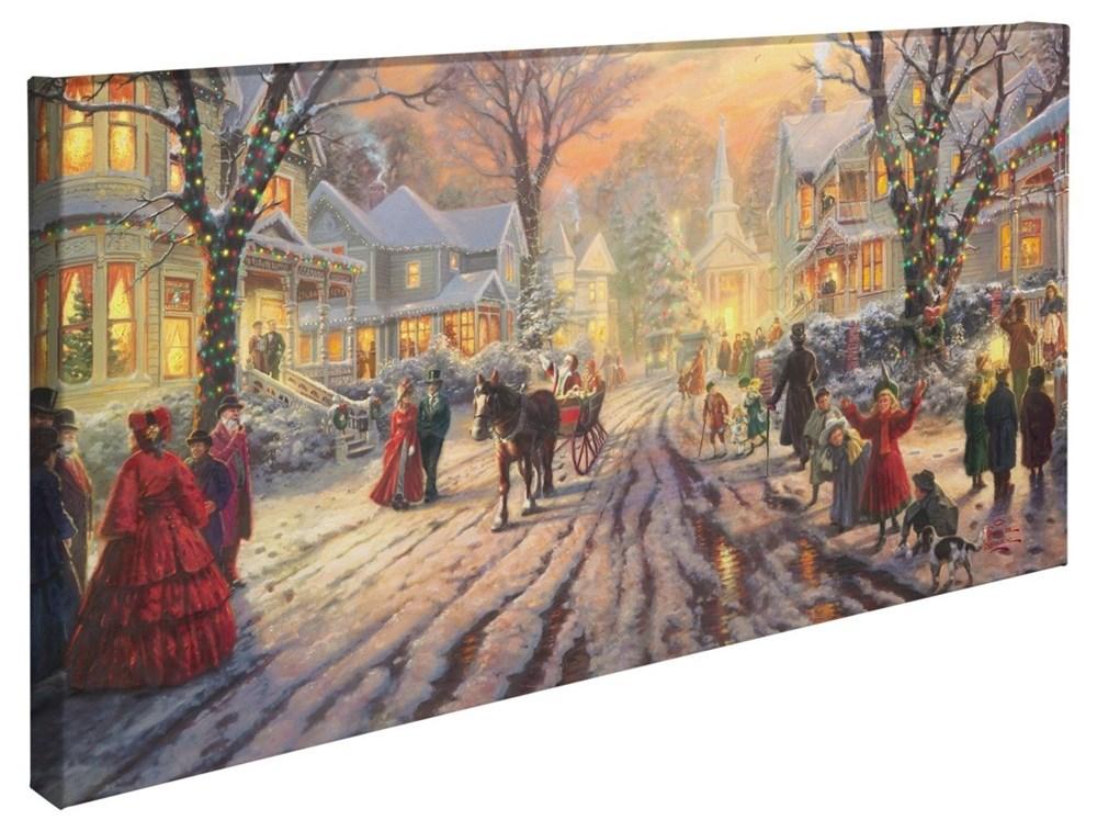 """【取寄せ】 風景 景色 自然 大きさ 40.6cm x 78.7cm 絵画 絵 アート キャンバス インテリア 装飾 デザイン 壁 Thomas Kinkade トーマスキンケード [並行輸入品] Thomas Kinkade A Victorian Christmas Carol - 16"""" x 31"""" Gallery Wrapped Canvas グッズ ストア プレゼ"""