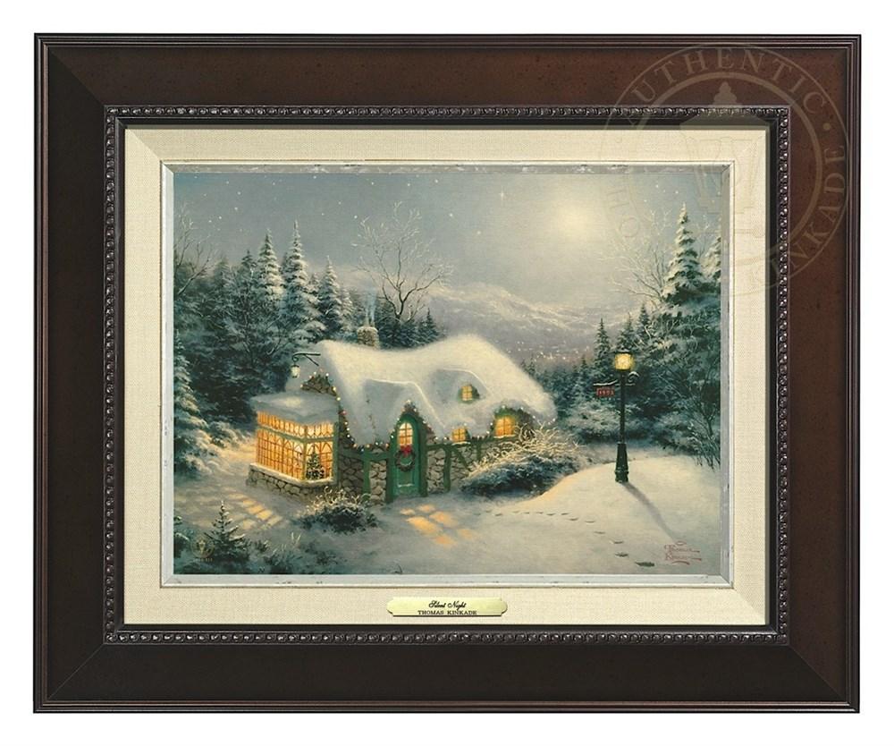 【取寄せ】 風景 景色 自然 絵画 絵 アート キャンバス インテリア 装飾 デザイン 壁 額付き フレーム付き (Espresso Frame) Thomas Kinkade トーマスキンケード [並行輸入品] Thomas Kinkade Silent Night - Canvas Classic (Espresso Frame) グッズ ストア プレゼント