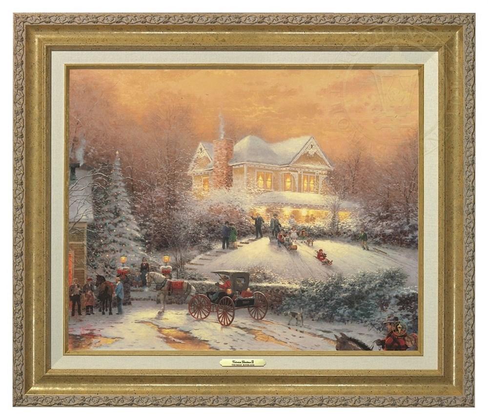 【取寄せ】 風景 景色 自然 絵画 絵 アート キャンバス インテリア 装飾 デザイン 壁 額付き フレーム付き (Gold Frame) Thomas Kinkade トーマスキンケード 風景画 [並行輸入品] Thomas Kinkade Victorian Christmas II - Canvas Classic (Gold Frame) グッズ ストア