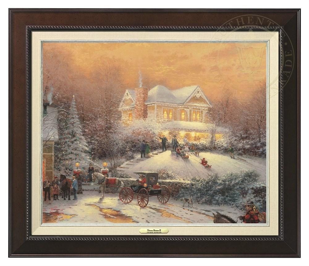 【取寄せ】 風景 景色 自然 絵画 絵 アート キャンバス インテリア 装飾 デザイン 壁 額付き フレーム付き (Espresso Frame) Thomas Kinkade トーマスキンケード 風景画 [並行輸入品] Thomas Kinkade Victorian Christmas II - Canvas Classic (Espresso Frame) グッズ