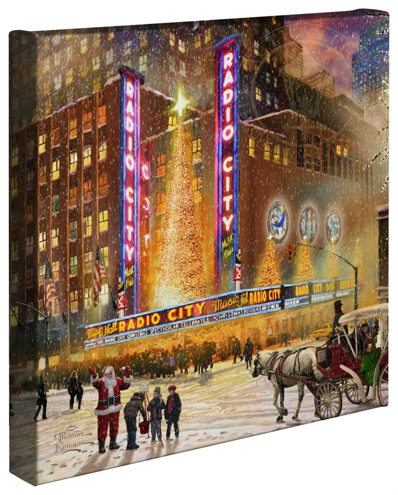 """【取寄せ】 風景 景色 自然 大きさ 35.5cm x 35.5cm 絵画 絵 アート キャンバス インテリア 装飾 デザイン 壁 Thomas Kinkade トーマスキンケード 風景画 [並行輸入品] Thomas Kinkade Radio City - 14 """" x 14"""" Gallery Wrapped Canvas グッズ ストア プレゼント ギフ"""