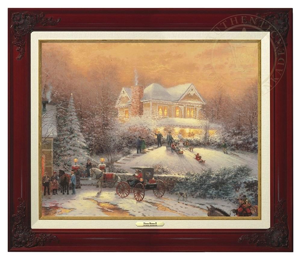 【取寄せ】 風景 景色 自然 絵画 絵 アート キャンバス インテリア 装飾 デザイン 壁 額付き フレーム付き (Brandy Frame) Thomas Kinkade トーマスキンケード 風景画 [並行輸入品] Thomas Kinkade Victorian Christmas II - Canvas Classic (Brandy Frame) グッズ スト