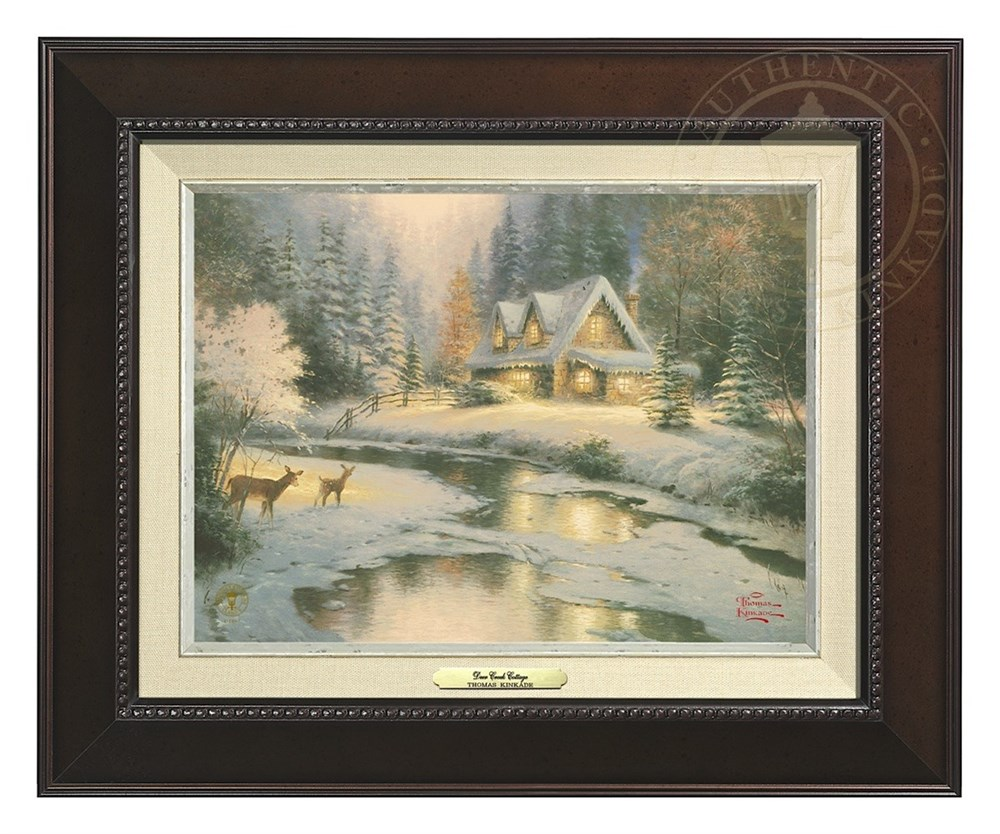【取寄せ】 風景 景色 自然 絵画 絵 アート キャンバス インテリア 装飾 デザイン 壁 額付き フレーム付き (Espresso Frame) Thomas Kinkade トーマスキンケード [並行輸入品] Thomas Kinkade Deer Creek Cottage - Canvas Classic (Espresso Frame) グッズ ストア プレ