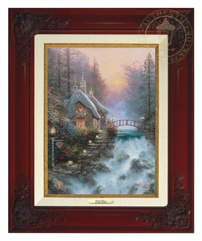 【取寄せ】 風景 景色 自然 絵画 絵 アート キャンバス インテリア 装飾 デザイン 壁 額付き フレーム付き (Brandy Frame) Thomas Kinkade トーマスキンケード [並行輸入品] Thomas Kinkade Sweetheart Cottage II - Canvas Classic (Brandy Frame) グッズ ストア プレゼ