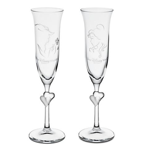 【3月11日に発送】ディズニー Disney US公式商品 美女と野獣 ベル プリンセス シャンパングラス フルートグラス ワイングラス 食器 コップ グラス ガラス アリバスブラザーズ [並行輸入品] Beauty and the Beast Glass Flute Set by Arribas