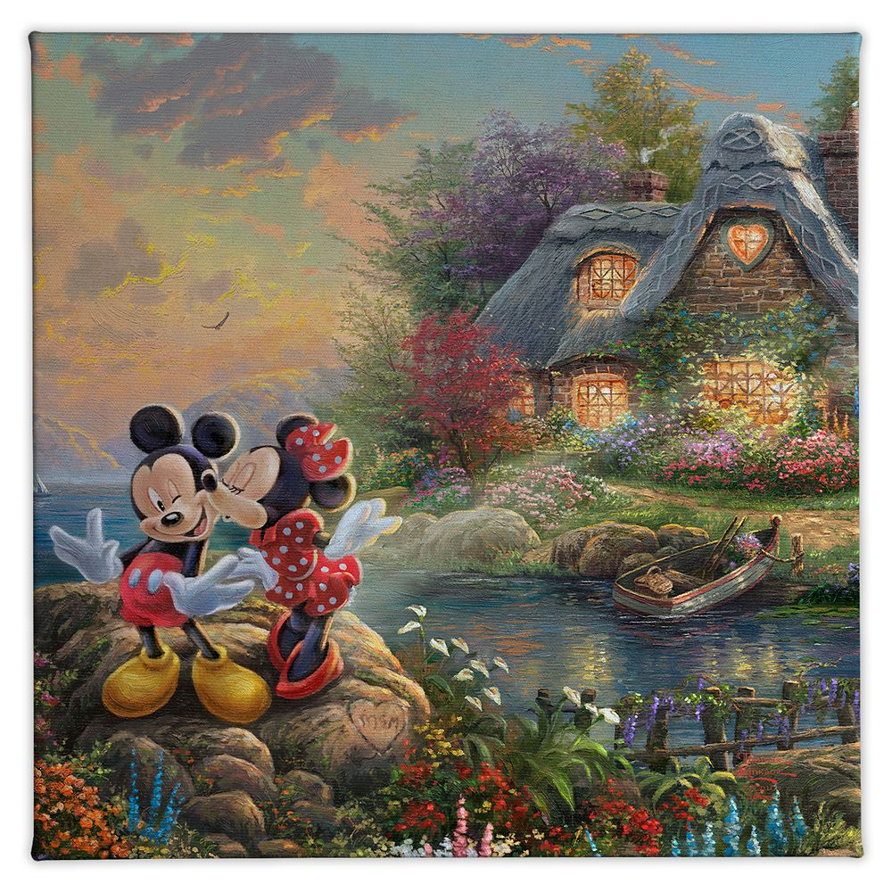 【取寄せ】 ディズニー Disney US公式商品 ミッキーマウス ミッキー ミニーマウス ミニー トーマスキンケード Thomas Kinkade キャンバス キャンバスアート 絵画 絵 アート インテリア 壁 装飾 デザイン [並行輸入品] 'Mickey and Minnie Sweetheart Cove'' Gallery Wrapped