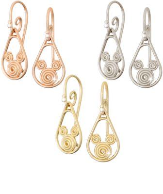 【取寄せ】ディズニー Disney US公式商品 ミッキーマウス ピアス ジュエリー アクセサリー 18金 ゴールド [並行輸入品] Gold Swirl Mickey Mouse Earrings - 18K