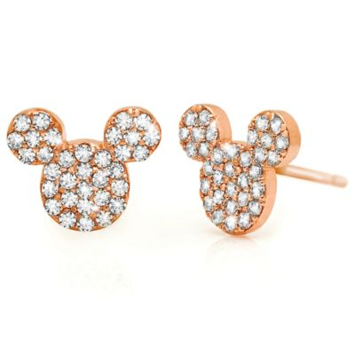 【取寄せ】ディズニー Disney US公式商品 ミッキーマウス ピアス ジュエリー アクセサリー ローズ ゴールド [並行輸入品] Mickey Mouse Icon Stud Earrings by Crislu - Rose Gold
