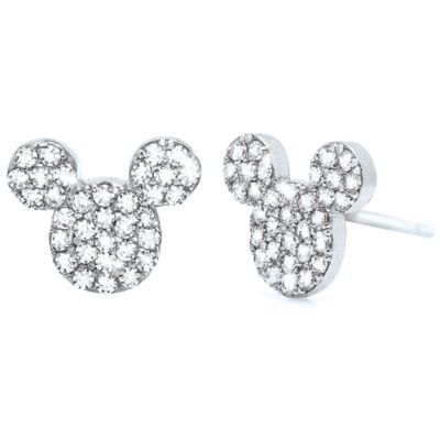 【取寄せ】ディズニー Disney US公式商品 ミッキーマウス ピアス ジュエリー アクセサリー [並行輸入品] Mickey Mouse Icon Stud Earrings by Crislu - Platinum