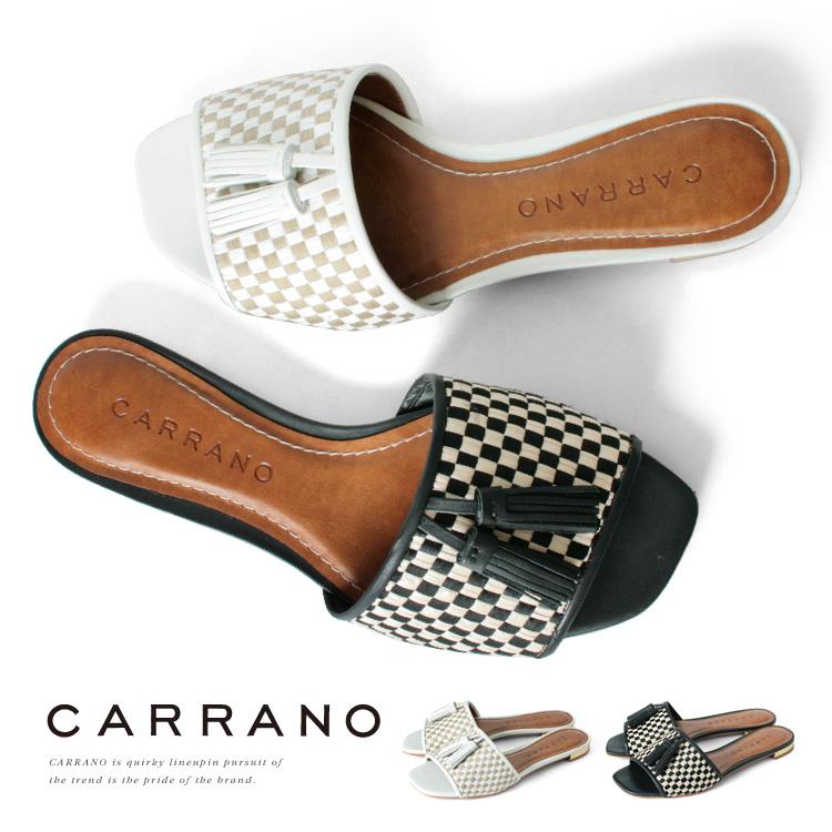 ミュール CARRANO フラット ローヒール ヒール1cm メッシュ バイカラー カラーノ ヒール (672301) 結婚式 パーティ 靴 【送料無料】