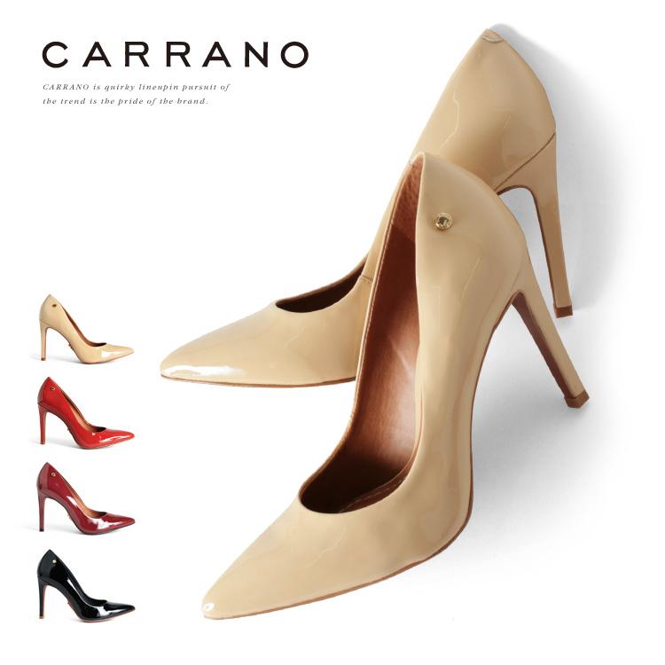 パンプス CARRANO ハイヒール ポインテッドトゥ ヒール10cm エナメル カラーノ ヒール (661105) 靴 【送料無料】