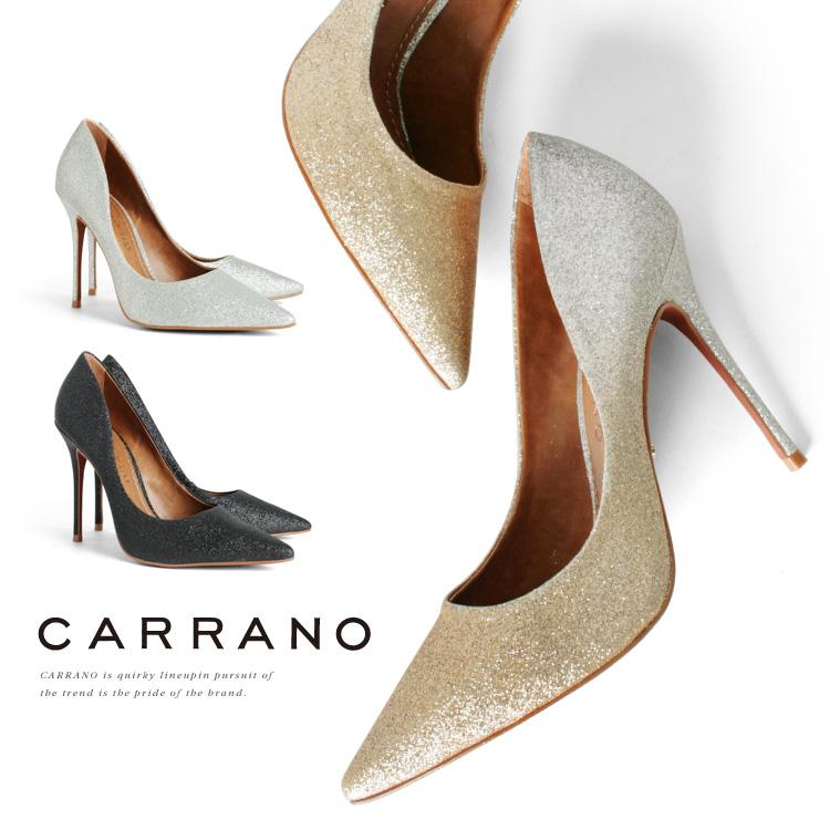パンプス CARRANO ハイヒール ポインテッドトゥ ピンヒール ヒール11cm グリッターラメ カラーノ ヒール (671112) 結婚式 パーティー 靴 【送料無料】