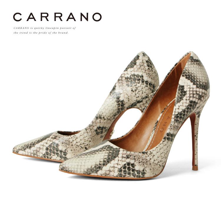 パンプス CARRANO ハイヒール ポインテッドトゥ ピンヒール パイソン ヒール11cm カラーノ ヒール (671115) 結婚式 パーティ 靴 【送料無料】