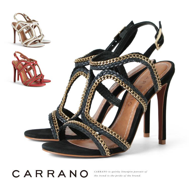 サンダル CARRANO ピンヒール ハイヒール グラディエーター ヒール12cm カラーノ ヒール (672011) 結婚式 パーティ 靴 【送料無料】