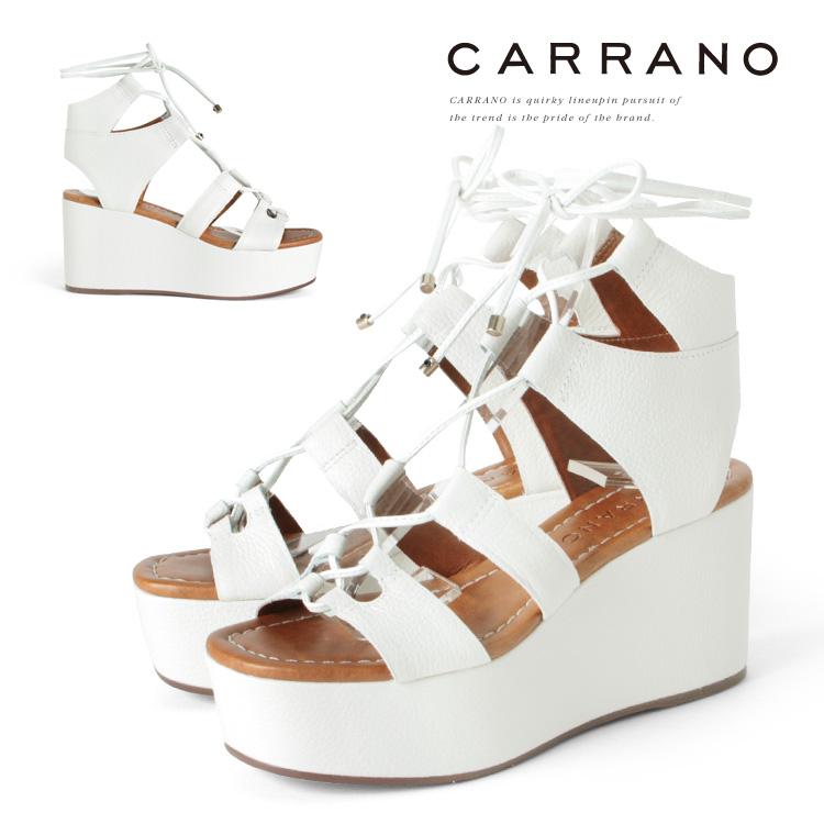 サンダル CARRANO ウェッジソール ハイヒール グラディエーター ヒール8cm ホワイト ウエッジヒール レースアップ カラーノ ヒール (672107) 結婚式 パーティ 靴 【送料無料】