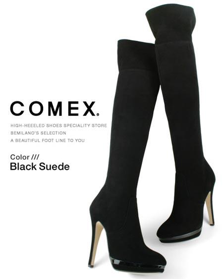 ブーツ コメックス ブーツ ヒール13cm ピンヒール ニーハイブーツ 2WAY ラウンドトゥ ダブルストーム 厚底 ブラックスエード COMEX レディース プラットフォーム ヒール (7086) スエード 靴 【送料無料】