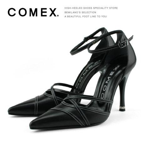 COMEX コメックス パンプス アンクルストラップ ハイヒール ヒール10cm ポインテッドトゥ ブラック COMEX ヒール (5046) 美脚 結婚式 靴 【送料無料】