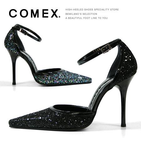 COMEX パンプス ピンヒール ポインテッドトゥ アンクルストラップ グリッターラメ コメックス ヒール (5385) 美脚 結婚式 靴 【送料無料】