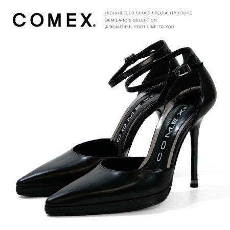 COMEX コメックス パンプス ポインテッドトゥ ハイヒール アンクルストラップ セパレート パンプス ブラック COMEX ヒール (5418) 美脚 結婚式 靴 【送料無料】
