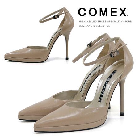 COMEX パンプス ポインテッドトゥ ハイヒール アンクルストラップ セパレート ベージュ COMEX ヒール (5418) 美脚 結婚式 靴 【送料無料】