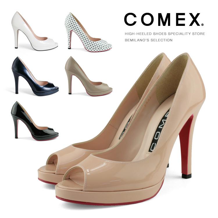 COMEX パンプス オープントゥ ピンヒール ヒール10cm 本革 水玉 ドット コメックス ヒール (5532) 美脚 結婚式 靴 【送料無料】