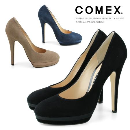 パンプス ハイヒール 厚底 本革 日本製 COMEX コメックス ヒール13cm ピンヒール 7193s 日本最大級の品揃え ランキングTOP5 送料無料 美脚 スエード 靴 ヒール プラットフォーム ラウンドトゥ