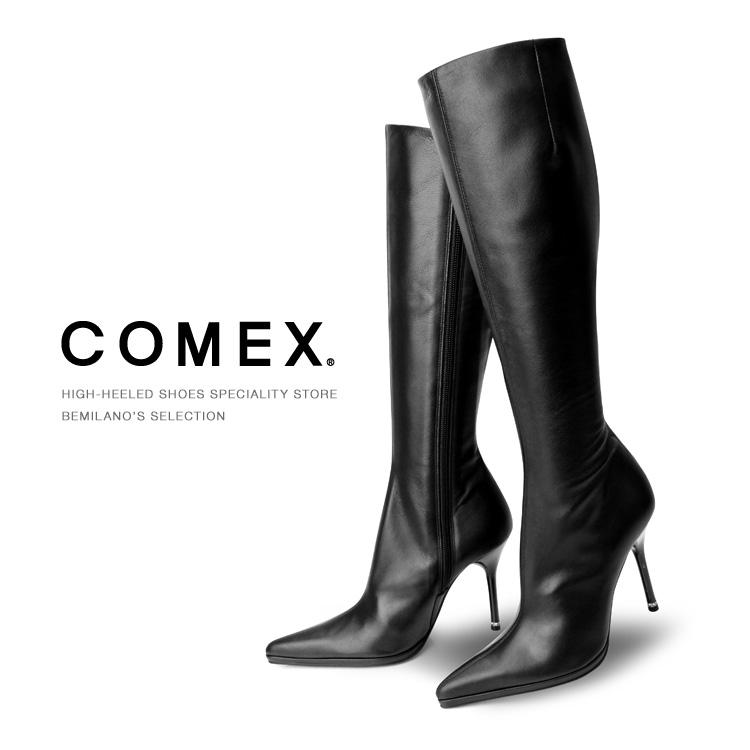 ブーツ COMEX ロングブーツ ハイヒールストレッチ ブラック コメックス ロング レディース ヒール (5116) 靴 【送料無料】