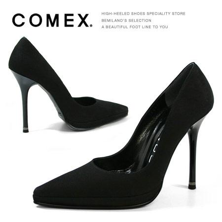 COMEX ポインテッドトゥハイヒールパンプス ブラックスエード コメックス ヒール (5286) 美脚 スエード 靴 【送料無料】