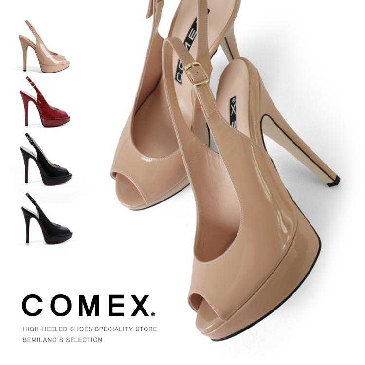 COMEX コメックス パンプス ピンヒール ヒール14cm オープントゥ ハイヒール バックベルト 厚底 サンダル プラットフォーム ヒール 美脚 結婚式 靴 5412 送料無料