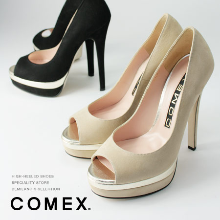 COMEX パンプス ピンヒール 14cmヒール オープントゥ 厚底 コメックスプラットフォーム ヒール (5503n) 美脚 靴 【送料無料】