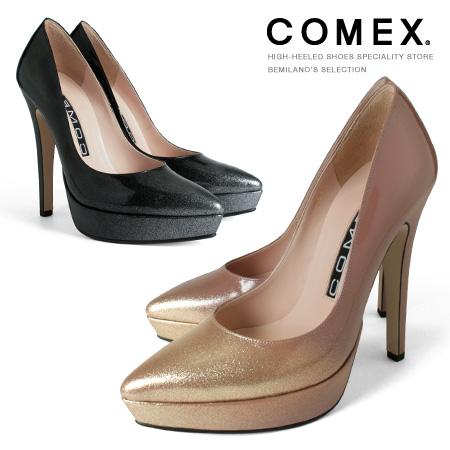 COMEX パンプス アーモンドトゥ ハイヒール ヒール13cm 厚底 ピンヒール ラメ コメックス プラットフォーム ヒール (5545r) 美脚 結婚式 靴 【送料無料】