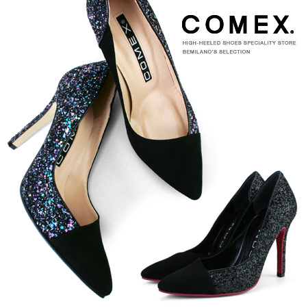 COMEX パンプス ポインテッドトゥ ハイヒール ヒール10cm ピンヒール スエード グリッターラメ 異素材コンビ パンプス コメックス ヒール (5549) 美脚 スエード 結婚式 靴 【送料無料】