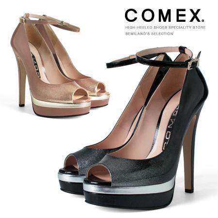 COMEX パンプス ハイヒール オープントゥ ヒール14cm 厚底 ピンヒール ストラップパンプス ラメ コメックス プラットフォーム ヒール (5550) 美脚 結婚式 靴 【送料無料】