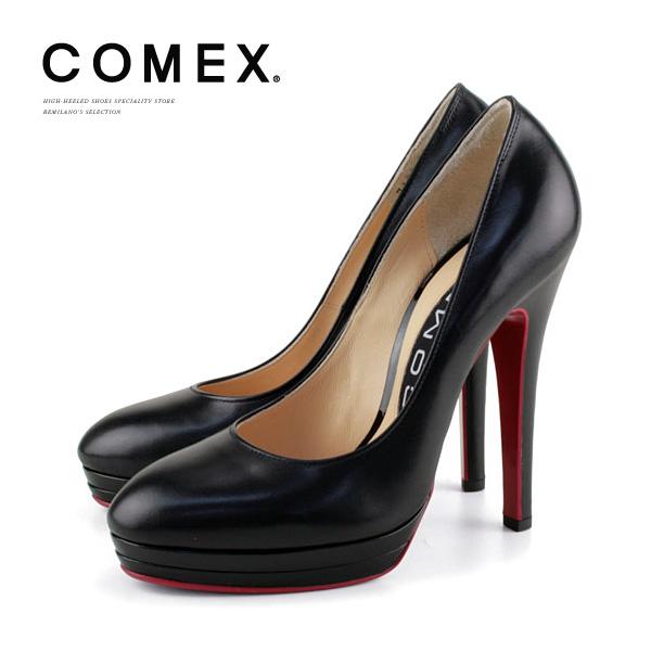 コメックス パンプス ヒール13cm ラウンドトゥ ピンヒール 定番 プラットフォーム COMEX ヒール (7193) 美脚 結婚式 靴 【送料無料】