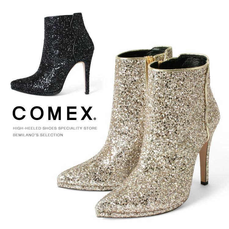 コメックス ブーツ ハイヒール ショートブーツ ヒール12cm ポインテッドトゥ ブーティー ピンヒール グリッターラメ レザー レディース ヒール (7267r) パーティ 靴 【送料無料】