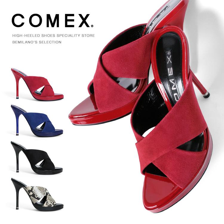 コメックス ミュール サンダル ハイヒール ヒール12cm オープントゥ ピンヒール スエード ヘビ ラインストーン COMEX ヒール (5618) 結婚式 パーティ 靴 【送料無料】